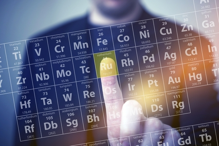 Periodic Table Elements Touch. Periodic Table Chemical Concept with Men Touching Some Element by His Finger. Chemistry Touch Screen Archivio Fotografico