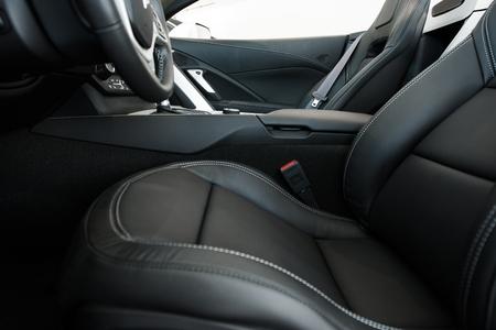 comfortable: Car Seats. Comfortable Leather Car Seats in Convertible Super Car. Stock Photo
