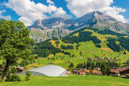 the bernese oberland: Adelboden Scenic Switzerland. Adelboden is a Municipality in the Frutigen-Niedersimmental Administrative District in the Bernese Oberland in Switzerland, Europe. Stock Photo