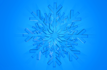 icy: Glassy Snowflake Blue Background. 3D Icy Glass Snowflake Abstract Backdrop. Stock Photo