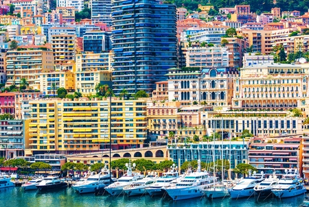 monte carlo: Monte Carlo Urban Scene. Monaco, Europe. Monte Carlo Marina and the Colorful Cityscape.