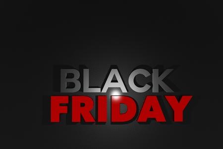 Black Friday Theme 3D Illustration. 3D Letters Black Friday on Black Carbon Background. Stock fotó