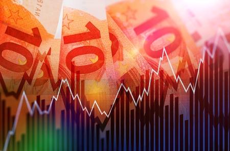 Der Handel europäischen Euro-Währung Konzept Illustration mit zehn Euro-Banknoten. Handelsgeschäft Standard-Bild - 50690306