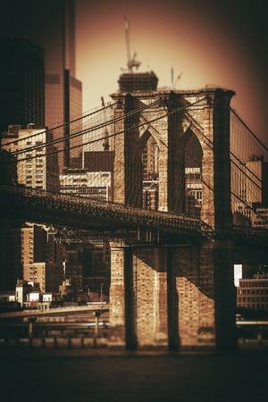 brooklyn bridge: Brooklyn Bridge NYC. Sepia Color Grading. New York City Famous Brooklyn Bridge and Part of the Manhattan.