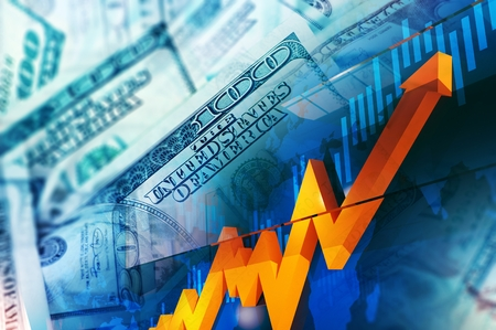nasdaq: Foreign Currency Exchange Concept Illustration. United States Dollars Price Rise. Stock Exchange. Stock Photo