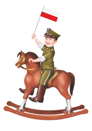 child smile: Polish Child Soldier on Wooden Rocking Horse. Isolated on White. Young Polish Patriot.