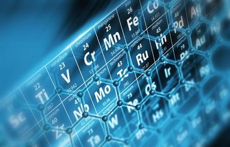 Periodické tabulky s molekulami Koncepční ilustrace. Reklamní fotografie