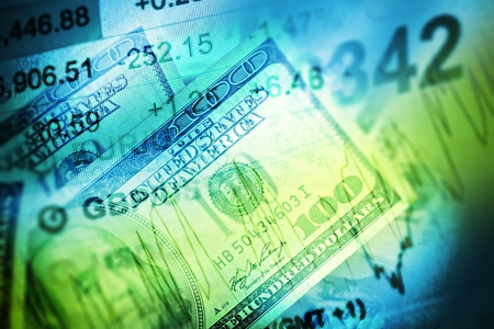 Currency Trading-Konzept. US-Dollar-Handel. Trading Market Ticker und Dollar Bills Illustration. Bessa Hossa bei Marketplace. Standard-Bild - 50695558