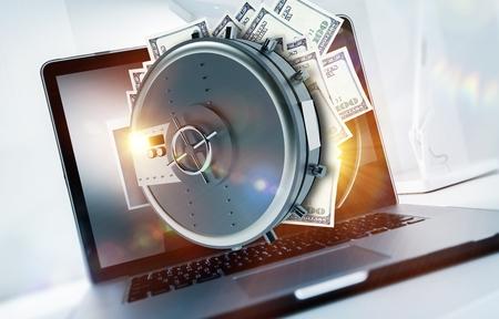 Profitable Online Business Concept Illustration. Open Vault Full Off Cash Money Straight From the Laptop Computer. Money Making Online Internet Business. Reklamní fotografie