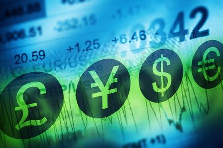 Forex Měna obchodování Concept. Finanční trhy a globální ekonomika Concept. Spojené Kingdon libra, evropský Euro, americký dolar a japonský jen měny