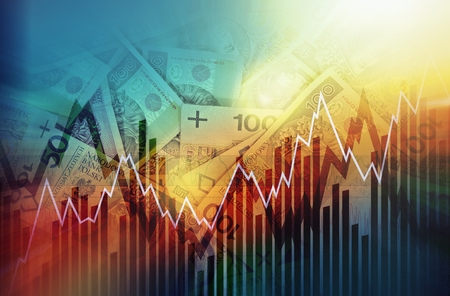 Concept de négociation zloty polonais. Polski Zloty Polish Currency Trading Illustration avec des graphiques linéaires. Billets de zloty polonais dans un fond. Banque d'images