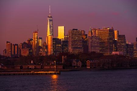 Scenic Manhattan Vista in New York, USA. Governors Island and the Manhattan Sunset Vista.
