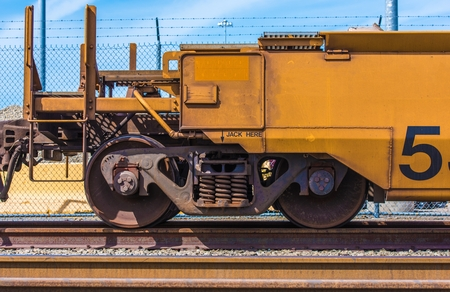 railway transport: Cargo Railroad Car Closeup Photo. Cargo Railroad Transportation. Editorial