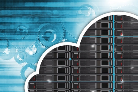 Cloud Hosting-Konzept-Abbildung. Technologie Blauer Hintergrund und Cloud-Form Server Illustration. Standard-Bild