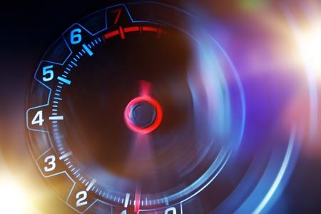 rotations: Blurred Revolution Counter Automotive Concept. Car Tachometer Concept. Stock Photo