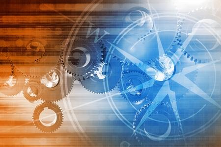 bussola: Global Technologies sfondo concettuale illustrazione Rosa dei venti, digitale Sovrapposizione Pattern e alcuni attrezzi metallici Grandi creazione di grandi Sistema.