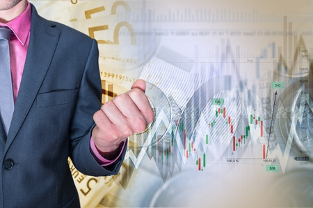 Stock and Forex Investing Success Concept Illustration with Exited Businessman.