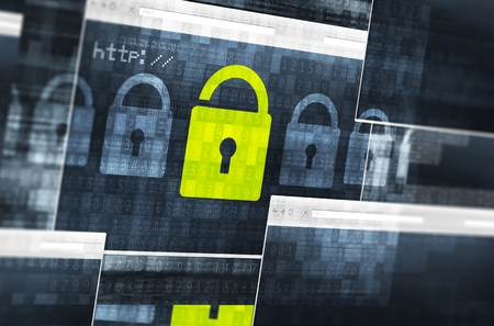 Internet Data Safety Concept.  Encryption and Networks Safety Concept Illustration. Internet Browsers and Padlocks.
