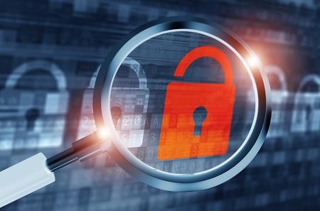 Ilustración del sistema de puerta trasera Concepto de la búsqueda. Los sistemas digitales de seguridad. La aplicación de seguridad. Foto de archivo