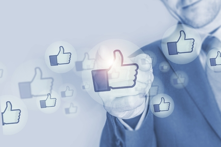 liking: Social Media Marketing Investment Concept Illustration with Businessman and Social Media Like Icons