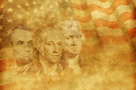 アメリカ建国の父たちの概念図。アメリカ合衆国の概念の背景イラストです。