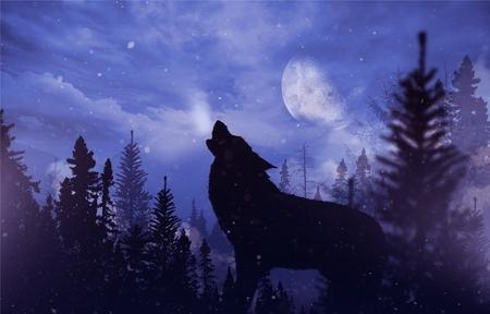 Howlin 'Wolf v poušti. Horská krajina s padajícím sněhem, Měsíc a Howling Alpha vlk ilustrace.