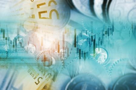 글로벌 통화 거래 개념 그림입니다. 유럽의 현금 머니와 라인 그래프. 스톡 콘텐츠