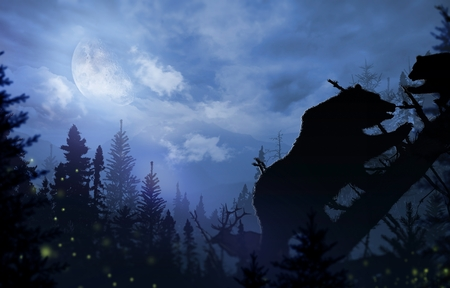 Wilderness Bears and Deer. Mama Bear with Bear Cup Playing on a Fallen Spruce Tree. Night time in the Wilderness Illustration. Stock Photo