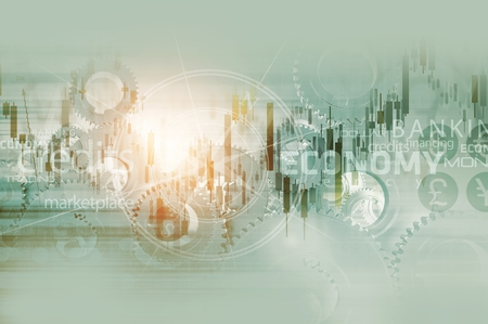 Global Economy Abstract Background. World Economy Mechanism Conceptual Background Illustration with Trading Stats, Compass Rose and Some Mechanisms. Stock Photo