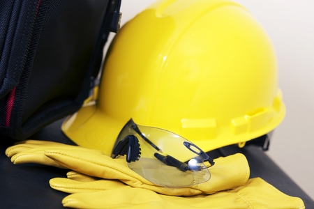 plumbing accessories: Head and Eyes Protection Equipment For Construction Zone. Stock Photo