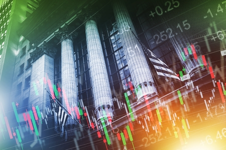 brokerage: Stock Exchange Concept Illustration. New York Stock Exchange Building and Stock Statistic Graphs Overlay.