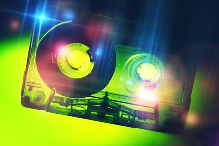 disco: Retro Disco Audio Cassette. Vintage Discotheque Colorful Concept.