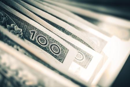 earn money: Polish Zloty Closeup. One Hundred Zloty Bills.