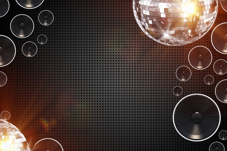 Retro Disco Abstract Background Illustration with Bass Speakers and Disco Balls.