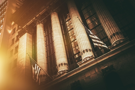 New York Stock Exchange Building. New York Lower Manhattan Financial District. Stok Fotoğraf