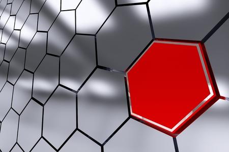 hot spot: The Red Octagon Spot Abstract 3D Render Illustration. Octagon Hot Spot.