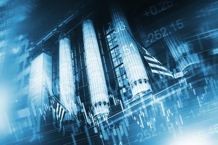 Börse-Gebäude in Lower Manhattan, New York City und Stock Grafiken und Ticker Zusammensetzung. Business Financial Kulisse Standard-Bild - 54032522