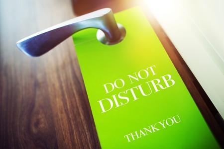 breakfast in bed: Do Not Disturb Green Paper Hotel Door Hanger.