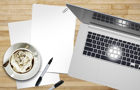 workstation: Designer Workstation with Blank Piece of Paper, Coffee and the Laptop Computer on Wooden Desk Illustration.