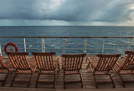 ship deck: Cruise Ship Deck and the Stormy Horizon. Stock Photo