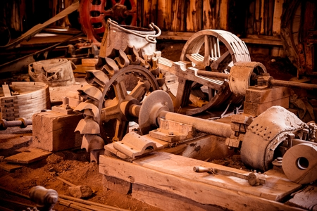 barns: Vintage Mining Equipment in the Old Barn. Stock Photo