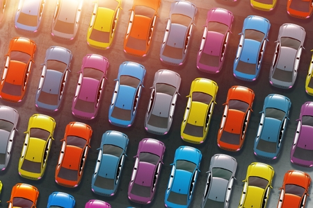 aerial view: Colorful Cars Inventory. Dealership Cars in Stock 3D Illustration. Aerial View.