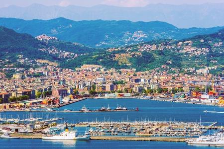 la: La Spezia Cityscape and the Gulf. La Spezia Italy Summer Sunny Day.