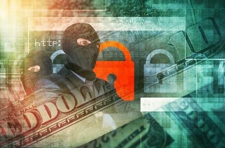 사이버 범죄 개념 그림. 금융 관련 이미지와 혼합 된 블랙 마스크 전문 해커. 온라인 금융 안전 개념 스톡 콘텐츠