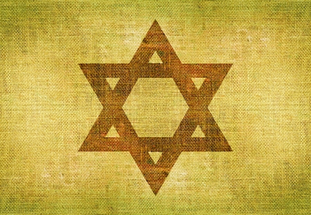 jewish star: Star of David on Canvas. Jewish Symbol Background Illustration.