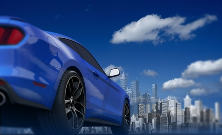 Concept Car and the Skyline Abstract 3D Illustration.