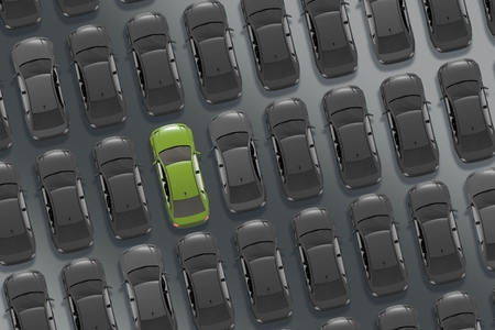 buying stock: Choosing the Car Concept Car Buying 3D Illustration. Dealer Stock From Above with Only One Car Painted in Bright Green Color.