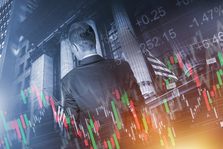 stock trading: Global Economy and Financial Conceptual Illustration with Young Trader In Front of Stock Market Building.