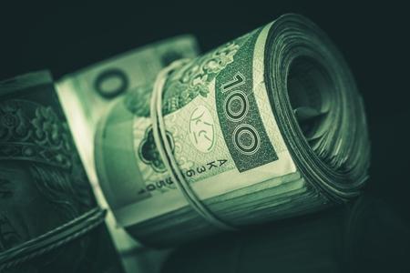 Rolled Cash Polish Zloty Closeup Photo. Stock fotó