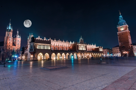 Cracow Main Square Old Town at Night. Stock Photo